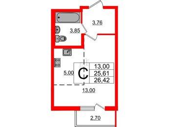 Квартира в ЖК «Новое Сертолово», студия, 26.42 м², 1 этаж