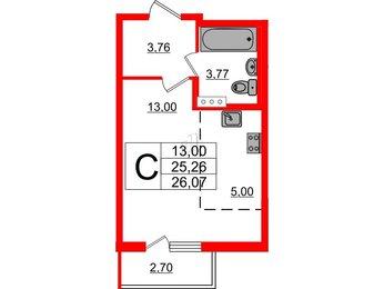 Квартира в ЖК «Новое Сертолово», студия, 26.07 м², 5 этаж