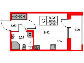Квартира в ЖК «Триумф Парк», студия, 19.98 м², 6 этаж