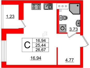 Квартира в ЖК ID Кудрово, студия, 26.67 м², 5 этаж