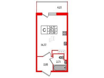 Квартира в ЖК All inclusive, студия, 21.59 м², 7 этаж