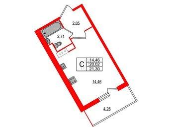 Квартира в ЖК All inclusive, студия, 21.3 м², 10 этаж