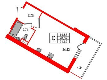 Квартира в ЖК All inclusive, студия, 21.62 м², 1 этаж