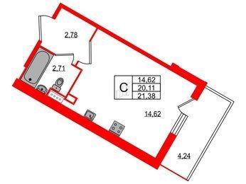 Квартира в ЖК All inclusive, студия, 21.38 м², 2 этаж