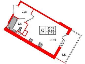 Квартира в ЖК All inclusive, студия, 21.25 м², 5 этаж