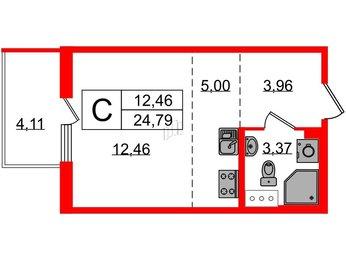 Квартира в ЖК «Новоорловский», студия, 24.79 м², 2 этаж