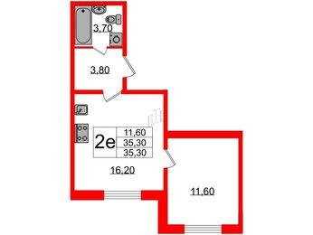 Квартира в ЖК Цивилизация, 1 комнатная, 35.3 м², 1 этаж