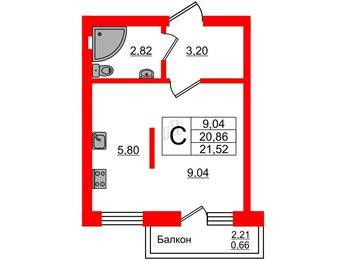 Квартира в ЖК Олимпия-7, студия, 21.52 м², 1 этаж