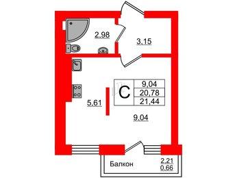 Квартира в ЖК Олимпия-7, студия, 21.44 м², 4 этаж