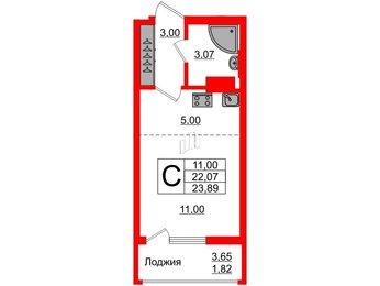 Квартира в ЖК Стерео-2, студия, 23.89 м², 11 этаж