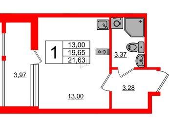 Квартира в ЖК «Нью Тайм», студия, 21.63 м², 3 этаж