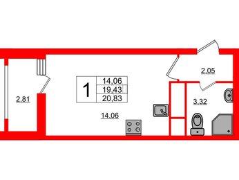Квартира в ЖК «Нью Тайм», студия, 20.83 м², 7 этаж