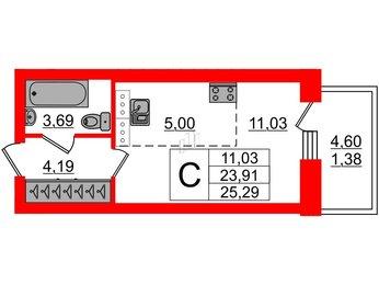 Квартира в ЖК Идеалист, студия, 25.29 м², 7 этаж