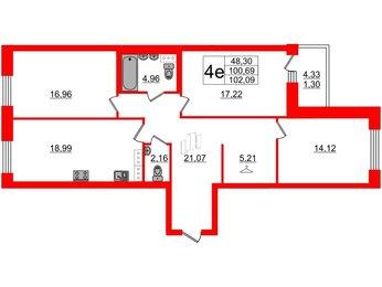 Квартира в ЖК Идеалист, 3 комнатная, 102.09 м², 6 этаж