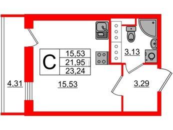 Квартира в ЖК UP-квартал Московский, студия, 23.24 м², 20 этаж