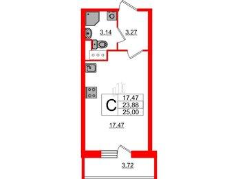Квартира в ЖК UP-квартал Московский, студия, 25 м², 13 этаж