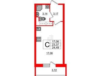 Квартира в ЖК UP-квартал Московский, студия, 24.49 м², 22 этаж