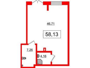 Помещение в ЖК Эмеральд на Малой Неве, 58.13 м², 1 этаж