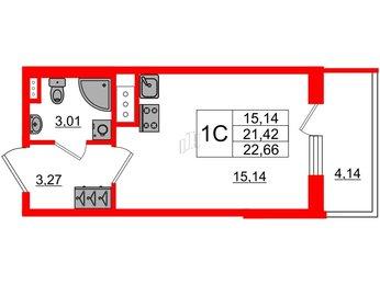 Квартира в ЖК ArtLine в Приморском, студия, 21.42 м², 2 этаж