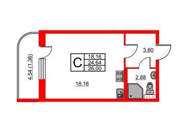 Квартира в ЖК Энфилд, студия, 25.62 м², 12 этаж