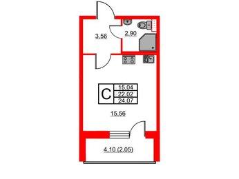 Квартира в ЖК Энфилд, студия, 24.07 м², 2 этаж