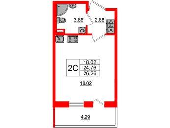 Апартаменты в ЖК ArtLine в Приморском, студия, 24.76 м², 1 этаж