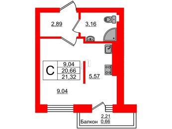 Квартира в ЖК Олимпия-4, студия, 21.32 м², 7 этаж