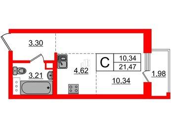 Квартира в ЖК INKERI, студия, 21.47 м², 2 этаж