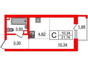 Квартира в ЖК INKERI, студия, 21.76 м², 1 этаж