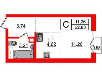 Квартира в ЖК INKERI, студия, 22.83 м², 2 этаж