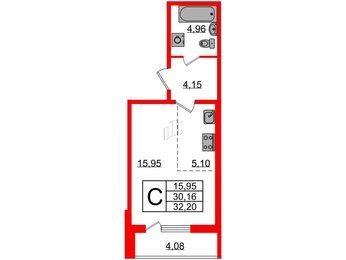 Квартира в ЖК Новая Охта, студия, 32.2 м², 2 этаж