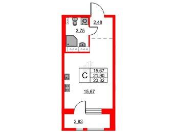 Квартира в ЖК Терра, студия, 23.82 м², 1 этаж