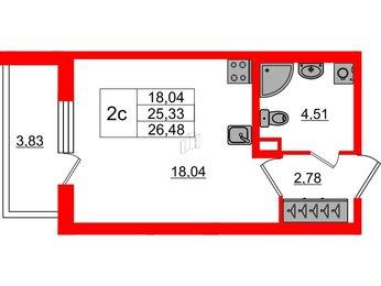 Квартира в ЖК «Чистое небо», студия, 25.33 м², 1 этаж