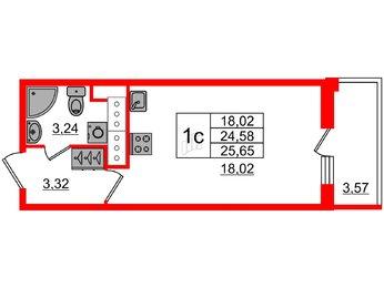 Квартира в ЖК «Чистое небо», студия, 24.58 м², 17 этаж