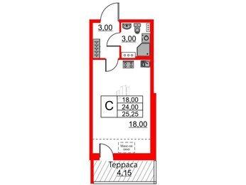 Квартира в ЖК Зеленый квартал на Пулковских высотах, студия, 24 м², 5 этаж