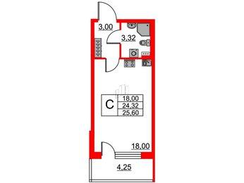 Квартира в ЖК Зеленый квартал на Пулковских высотах, студия, 24.32 м², 1 этаж