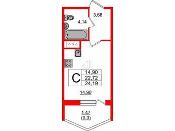 Квартира в ЖК Ювента, студия, 24.19 м², 6 этаж