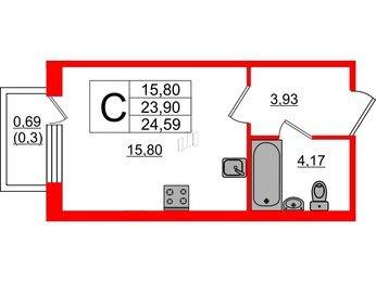 Квартира в ЖК Ювента, студия, 24.59 м², 2 этаж