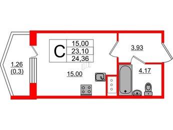 Квартира в ЖК Ювента, студия, 24.36 м², 11 этаж