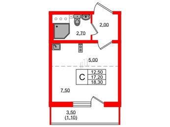 Квартира в ЖК Цветной город, студия, 18.3 м², 2 этаж