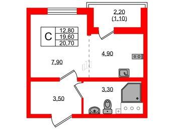 Квартира в ЖК Цветной город, студия, 20.7 м², 18 этаж