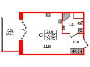 Квартира в ЖК Magnifika, студия, 32.57 м², 5 этаж
