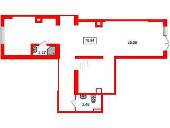 Помещение в ЖК Чистое небо, 70.94 м², 1 этаж