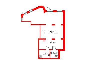 Помещение в ЖК Чистое небо, 79.56 м², 1 этаж
