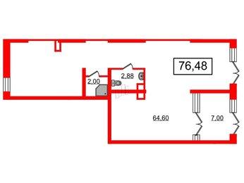 Помещение в ЖК Чистое небо, 76.48 м², 1 этаж