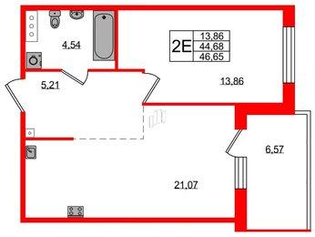 Квартира в ЖК Grona Lund, 1 комнатная, 46.66 м², 2 этаж
