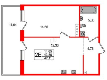 Квартира в ЖК Grona Lund, 1 комнатная, 47.11 м², 2 этаж