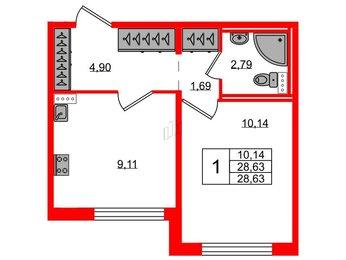 Квартира в ЖК Ручьи, 1 комнатная, 28.63 м², 1 этаж