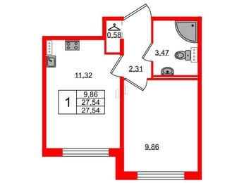 Квартира в ЖК Ручьи, 1 комнатная, 27.54 м², 1 этаж