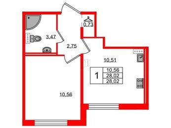 Квартира в ЖК Ручьи, 1 комнатная, 28.02 м², 1 этаж